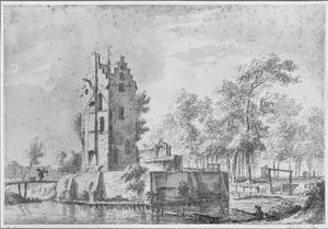De ruïne van het huis Kostverloren aan de Amstel bij Amsterdam