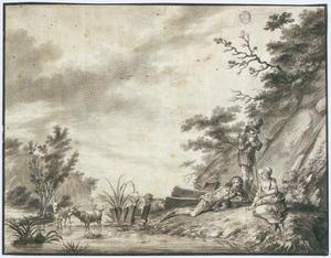 Een arcadisch landschap met rustende figuren