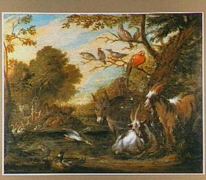 Paradijslandschap met dieren; op de achtergrond biedt Eva de vrucht aan aan Adam (Genesis 3:6)