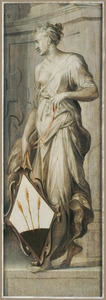 Vrouwenfiguur met een heraldisch wapen in grisaille (Verso: Groepsportret van vrouwelijke donoren met Maria met kind)