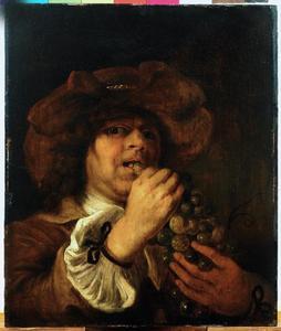 Jongeman met druiven; allegorie op de Smaak