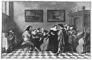 Elegant musicerend gezelschap in een interieur
