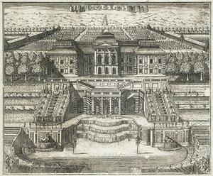 Uitzicht op het grote paleis in Peterhof