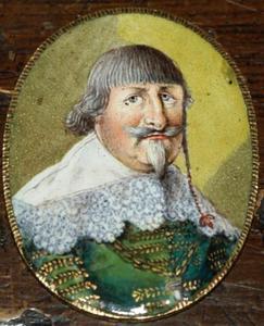 Portret van Christiaan IV (1577-1648) van Denemarken met allegorische voorstelling op de achterzijde