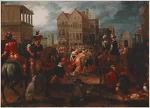 Drukbevolkt marktplein met soldaten, in de menigte een jonge vrouw met ontblote borst (Een volksgericht?)