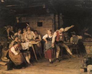 Oude man en jonge vrouw dansend in een herberg