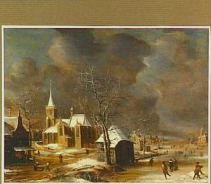 Gezicht in een dorp in de winter