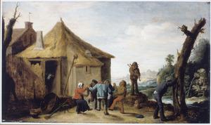 Dansende boeren voor een huis