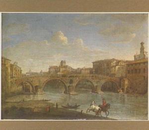 Gezicht op de Ponte Sisto te Rome
