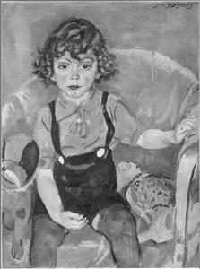Jongetje met speelgoedbeest en pop