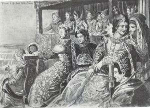 Adellijk damesgezelschap bij de kroning van Christiaan IV op 29 augustus 1596