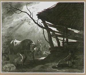 Landschap met schuur, op de achtergrond de verkondiging aan de herders