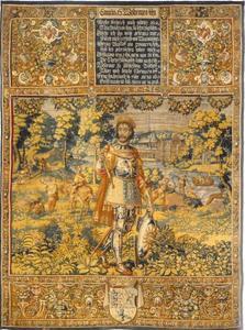 Camute VI (1163-1202) met jachtscenes op de achtergrond