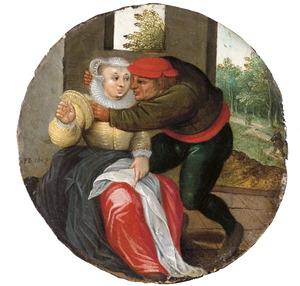 Een amoureus paar, illustratie van het spreekwoord 'Qui s'y frotte s'y pique'