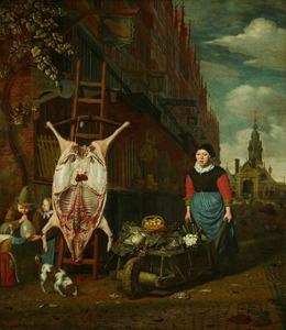 Het varken op de leer met gezicht op de Haarlemmerpoort te Amsterdam