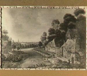 Landschap met een dorp aan een rivier