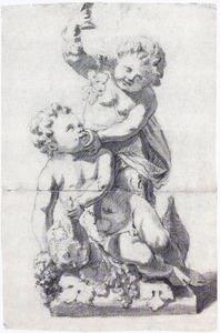 Ontwerp voor een tuinbeeld van twee kinderen met druiventrossen