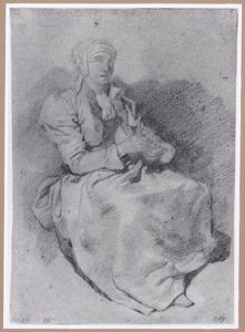Zittende vrouw met handwerk