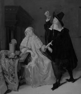 Interieur met een arts en een zieke vrouw
