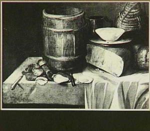 Stilleven met ton, oesters, kaas en brood en drinkgerei