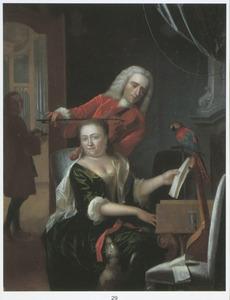 Interieur met een musicerend paar