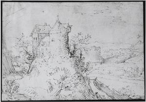 Berglandschap met kasteel en rivier
