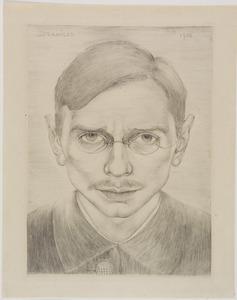 Zelfportret met snor en bril, van voren gezien