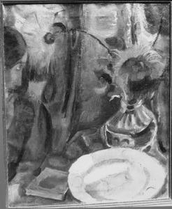 Bloemstilleven in interieur met figuur uiterst links