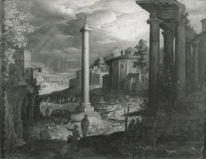 Capriccio met Romeinse ruïnes en de zuil van Trajanus