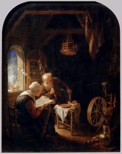 Oude man en vrouw in een interieur