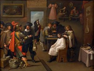 Interieur met kleermakers, een barbier en handeldrijvende soldaten