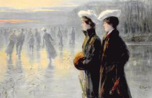 Portret van Corry van Dam (1883-1927) en Jeanette Slager (1881-1945) bij De IJzeren Man