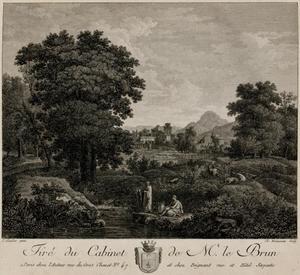 Zuidelijk landschap met twee figuren bij een rivier