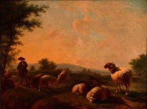 Landschap met herder en schapen