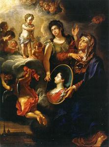 De Heiligen Anna en Louise presenteren het portret van Anna Maria Luisa de'Medici aan het Christuskind