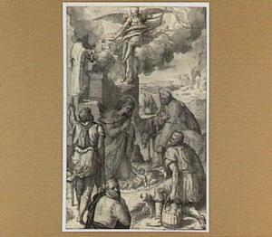 Aanbidding der herders, op de voorgrond een schenker