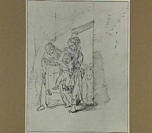 Vrouw met huilend jongetje in een deuropening, met lachende toeschouwers