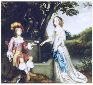Dubbelportret van een jongen en een meisje bij een fontein in een landschap