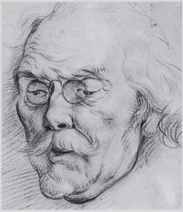 Kop van een oude man met bril (Adam van Noort)