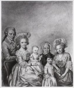Portret van Garlieb Helwich Sillem (1728-1801), Louise Maria Matthiessen (1749-1826), hun kinderen, haar moeder en haar grootmoeder