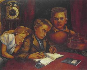Portret van Edgar (1912-1974), John (1913-1987) en Annetje Fernhout (1916-1956)