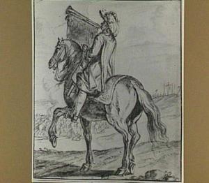 Trompettist te paard, op de achtergrond een veldslag