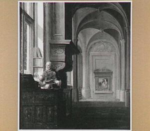 Gotisch interieur met de H. Hieronymus aan zijn schrijftafel