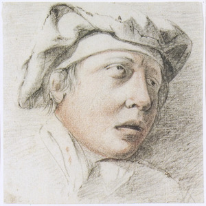 Kop van een jongeman met baret, naar rechts