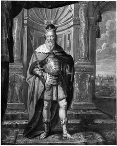 Portret van Karel de Grote (747/748-814), in harnas met zwaard, kroon en schild