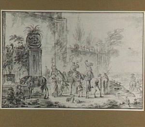 Valkenjagers bij een fontein