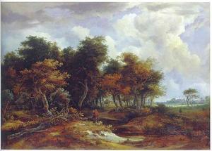 Wandelaars aan de rand van een bos