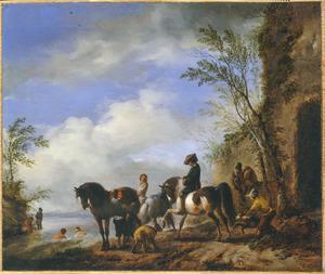 Landschap met drie paarden, ruiters en zwemmers  bij een rivier