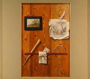 Trompe l'oeil met schilderij met landschap, tekening en blokfluit