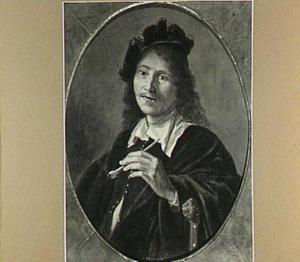 Portret van een man met een pijp in de linkerhand